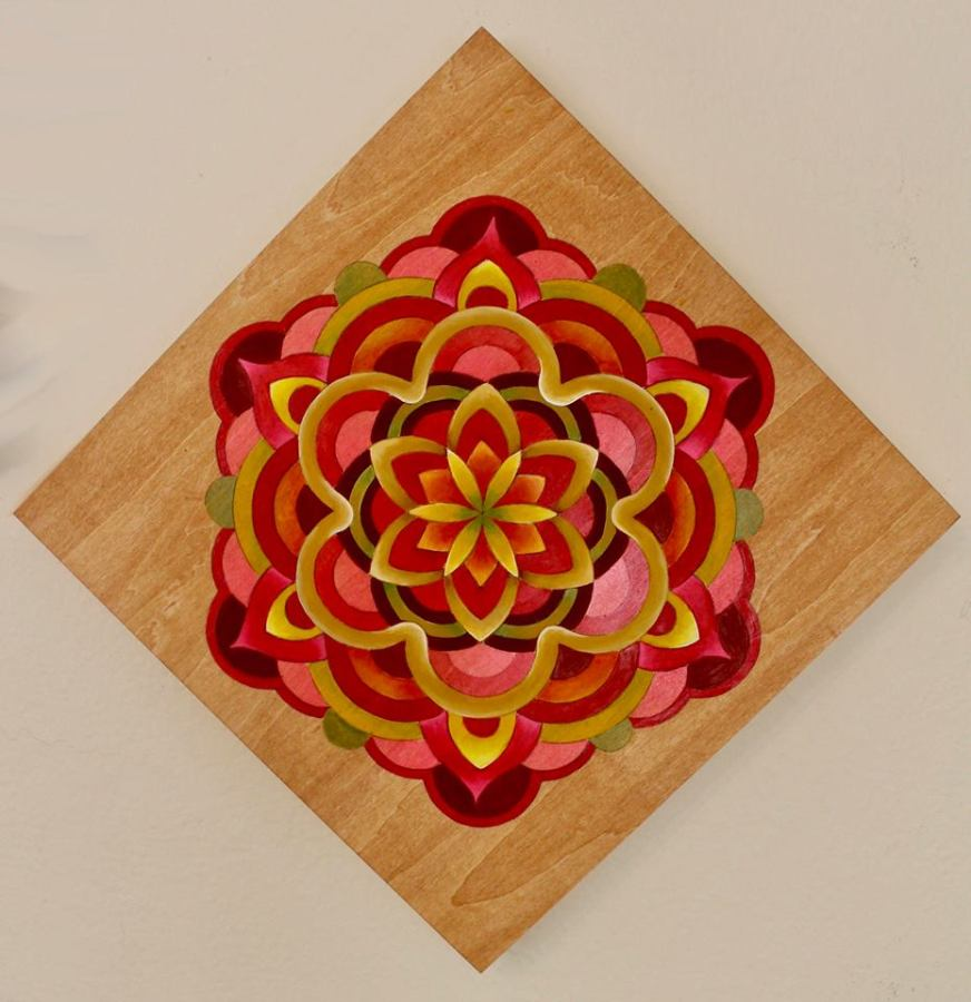 Mandala in red tones. Acrylyc 12×12 inches on cradled wood.