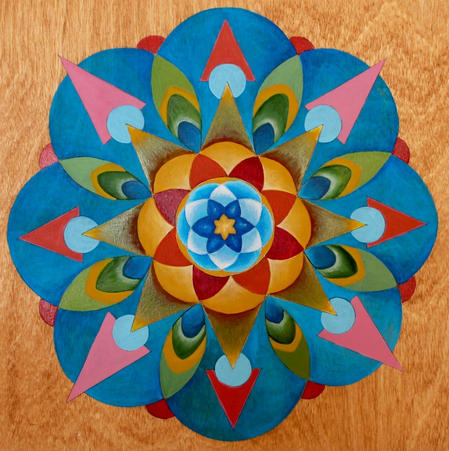 Mandala : Acrylic on Wood panel. 12×12″.
